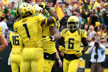 Huff celebrates his TD