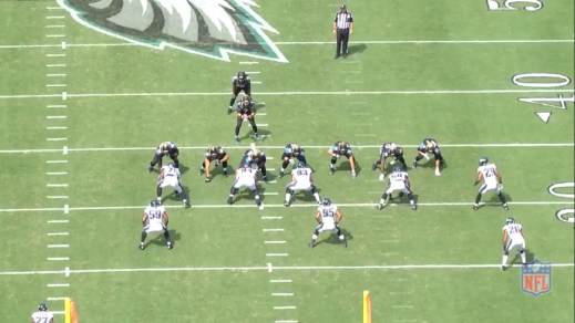 Eagles second team defensive line from left to right: Vinny Curry (#75), Beau Allen (#94), Bair (#93).