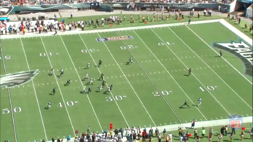 Boykin outruns his opponent and gets a clean path to track the football.