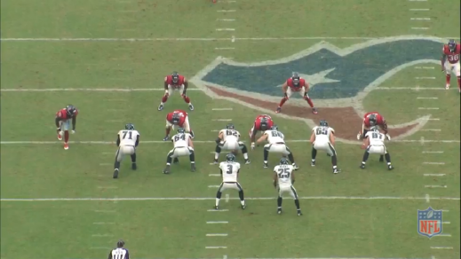 Kelce has no defender shading the gap to his play-side, so his responsibility is to help left guard Matt Tobin block his defender and get to the linebacker.