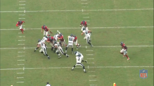 In a twist from the Outside Zone Read, Tobin and Kelce pull to the left to block a defensive back and a linebacker. Quarterback Mark Sanchez is reading the unblocked edge-rusher, who chooses not to crash down and let McCoy keep the ball.