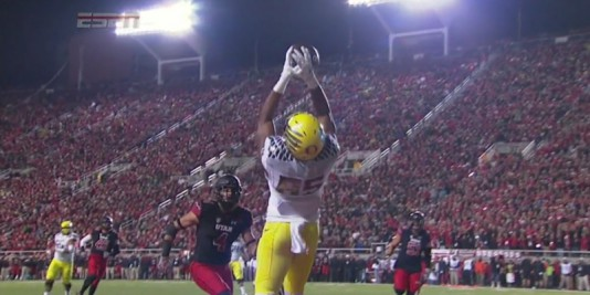 Pharaoh Brown makes a spectacular catch for a touchdown against Utah, pre-injury.