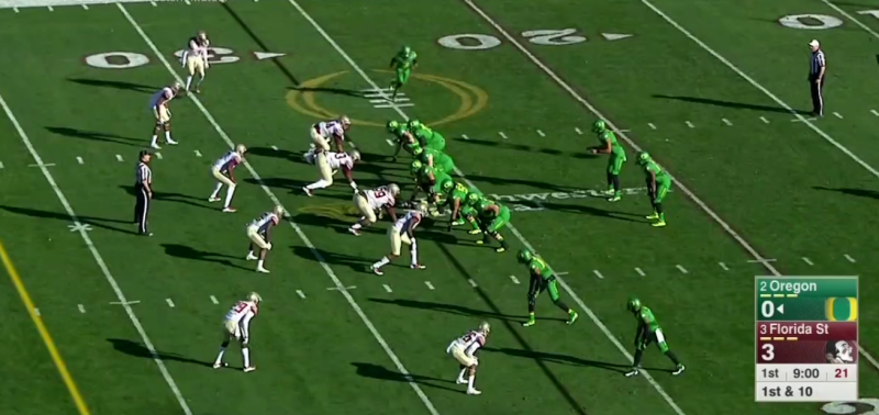 Oregon aligns in one of their most common formations, then brings the Z receiver in motion toward the backfield.