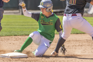Takeda holds the new Oregon record for career stolen bases.
