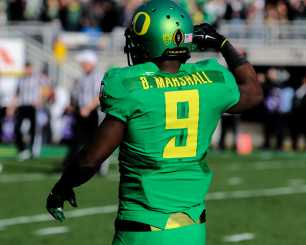 Byron Marshall sporting the new uniforms the Ducks wore for the Rose Bowl