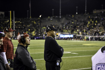 Even with the Oregon student section already gone to party, David Shaw displays an even temper.