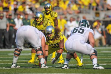 Maloata lines up to battle the opposing offensive line.