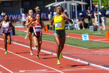 Raevyn Rogers closes a big win in the 800 meters.