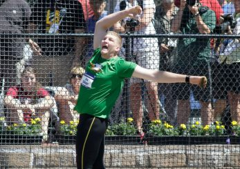 Greg Skipper throws a third place finish in the hammer.