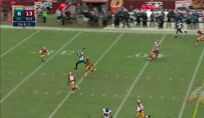 Bradford's bullet to Jordan Matthews, in between three defenders