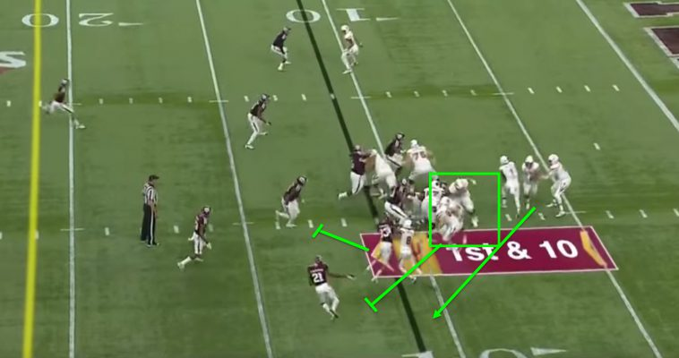 Pay attention to Foster, the receiver shown blocking.