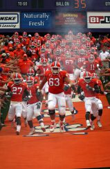Clemson Tigers charging down the hill.