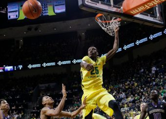 Chris Boucher led the Pac-12 with 110 blocks and averaged 12 points per game last season.